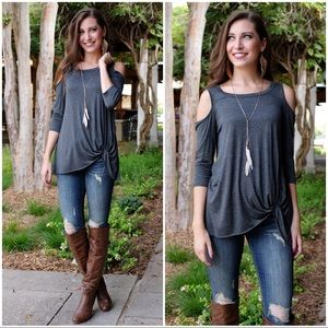 Charcoal Cold Shoulder Knot Front Tunic